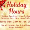 We are closed on Holiday break until Jan 3rd